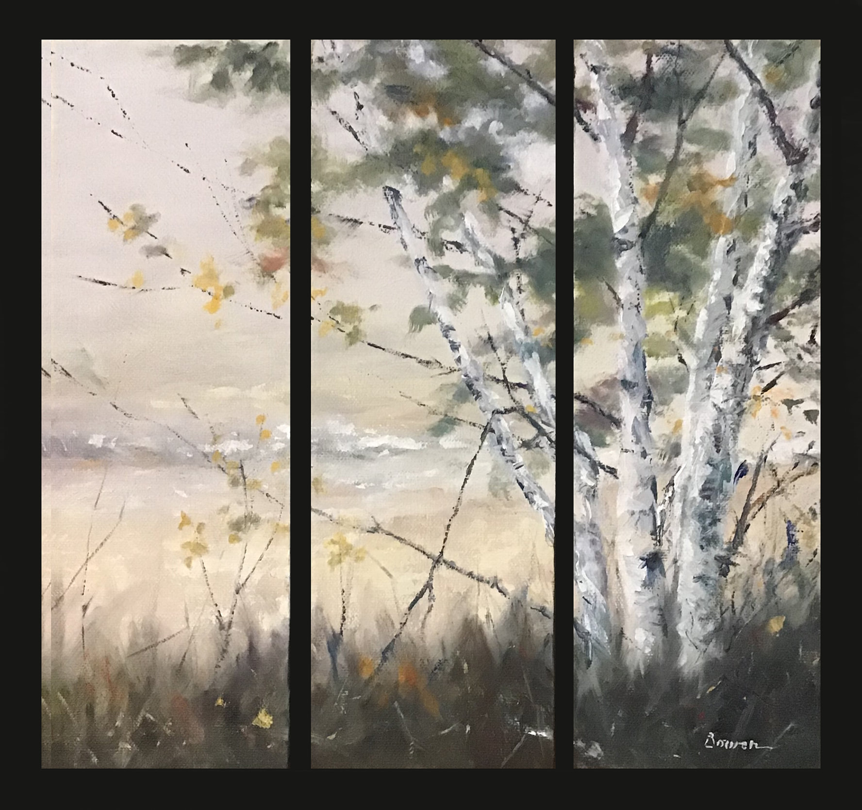 Birch Trees Original 3 Canvas Set